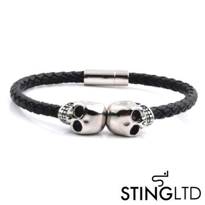 Thin Black Skull Stainless Steel Leather Bracelet